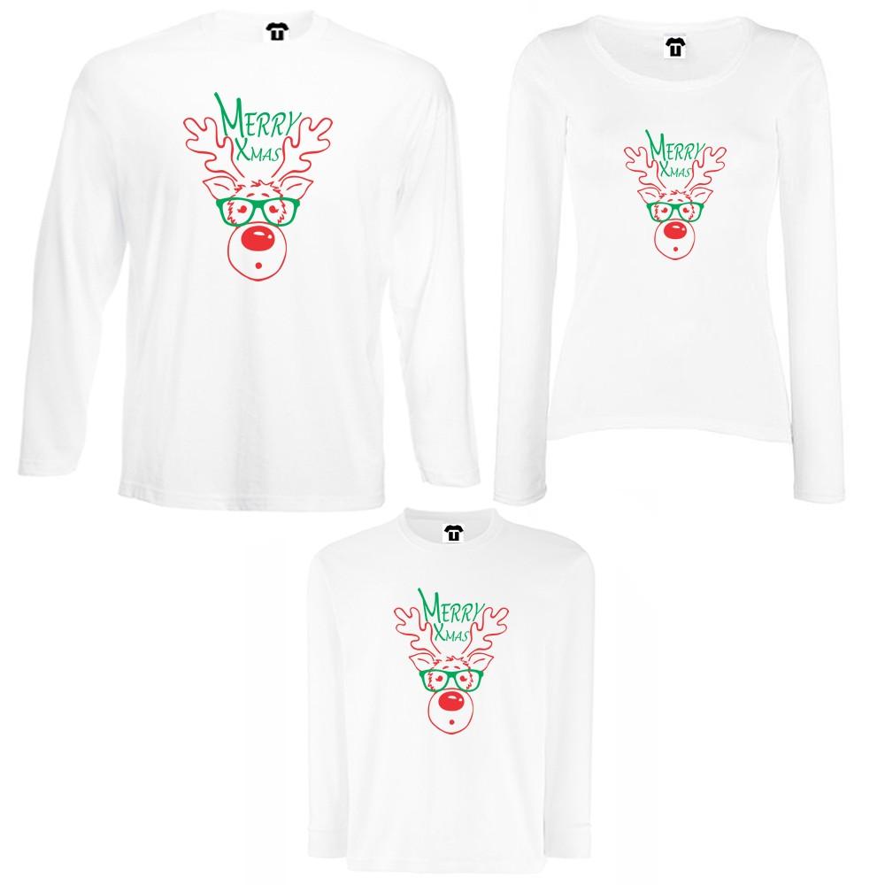 Obiteljski set majica dugih rukava u crnoj ili bijeloj boji Merry Christmas