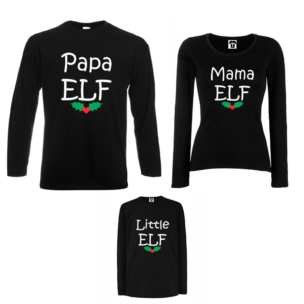 Obiteljski set majica dugih rukava u crnoj ili bijeloj boji  Papa, Mama and Little Elf
