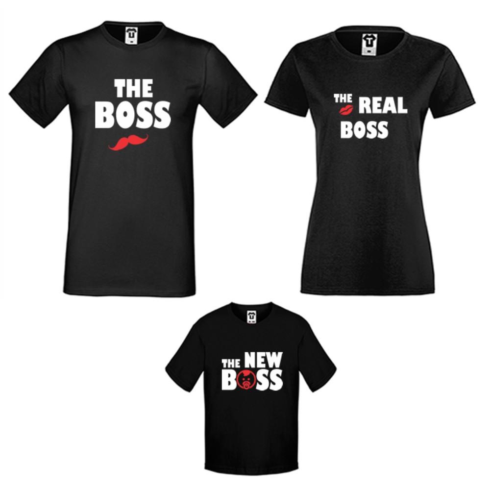 Obiteljski set majica u crnoj ili bijeloj boji The Boss, The Real Boss and The New Boss Girl