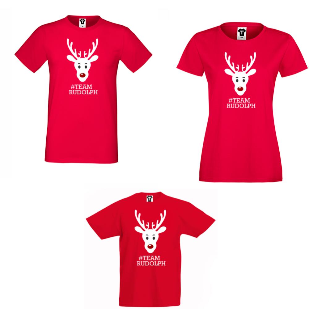Obiteljski set majica u crvenoj boji  #Team Rudolph