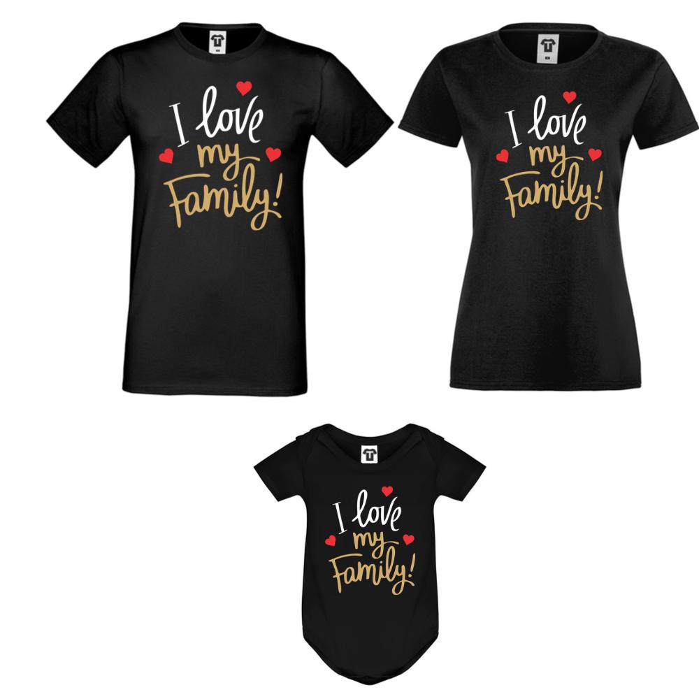 Obiteljski seta majica s bodijem u crnoj boji I Love My Family
