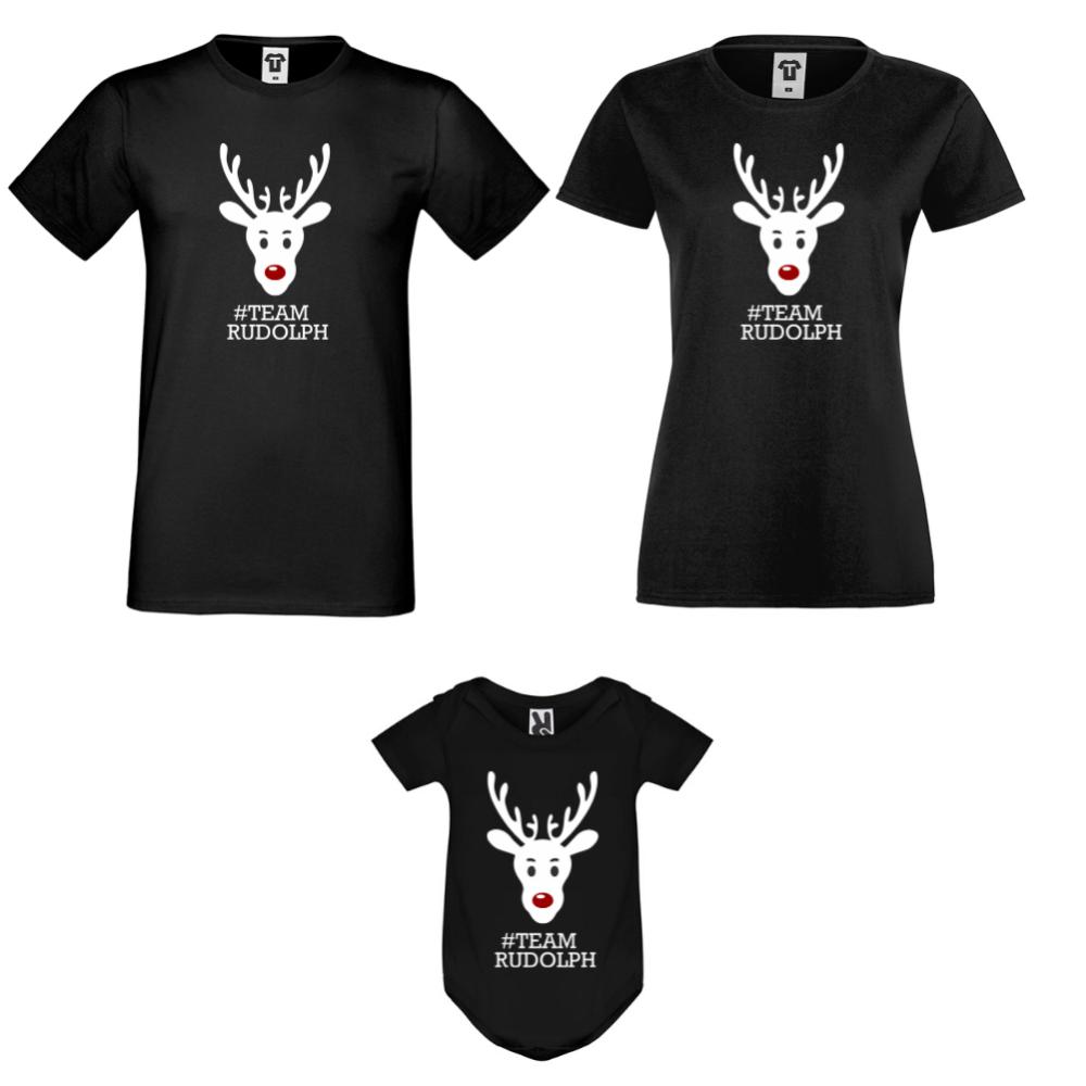 Obiteljski seta majica s bodijem u crnoj boji #Team Rudolph