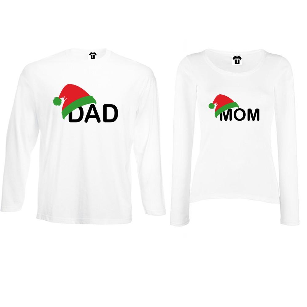 Set bijelih ili crnih majica dugih rukava za parove Family Christmas Hats