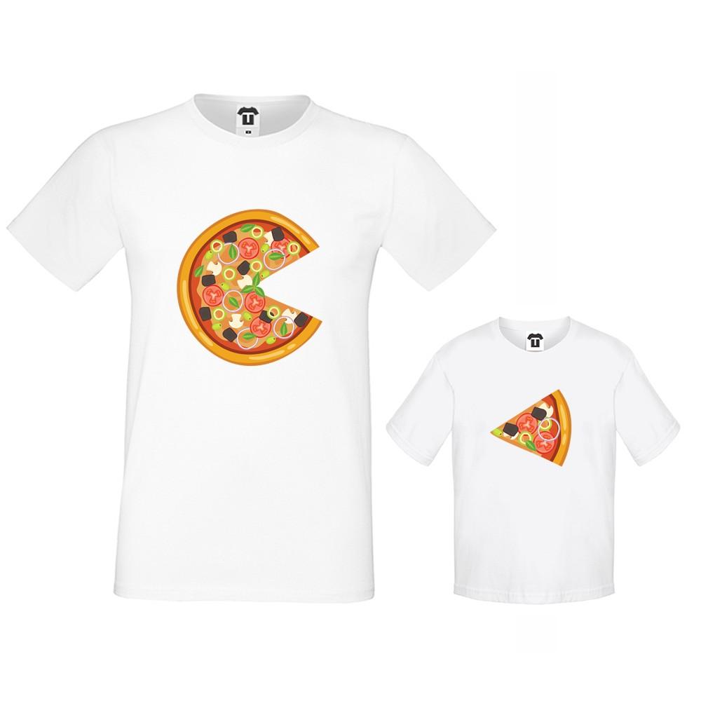 Set bijelih majica za oca i dijete Pizza Slices