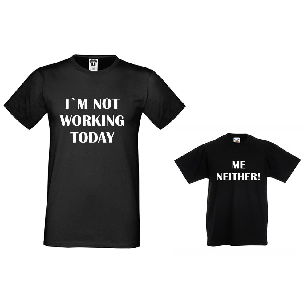 Set muška i dječja majica u crnoj ili bijeloj boji Not Working today, Me Neither