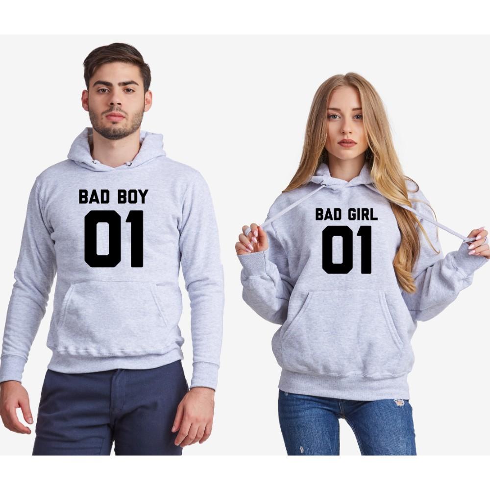 Dukserice za parove - sivi Bad Boy and Bad Girl