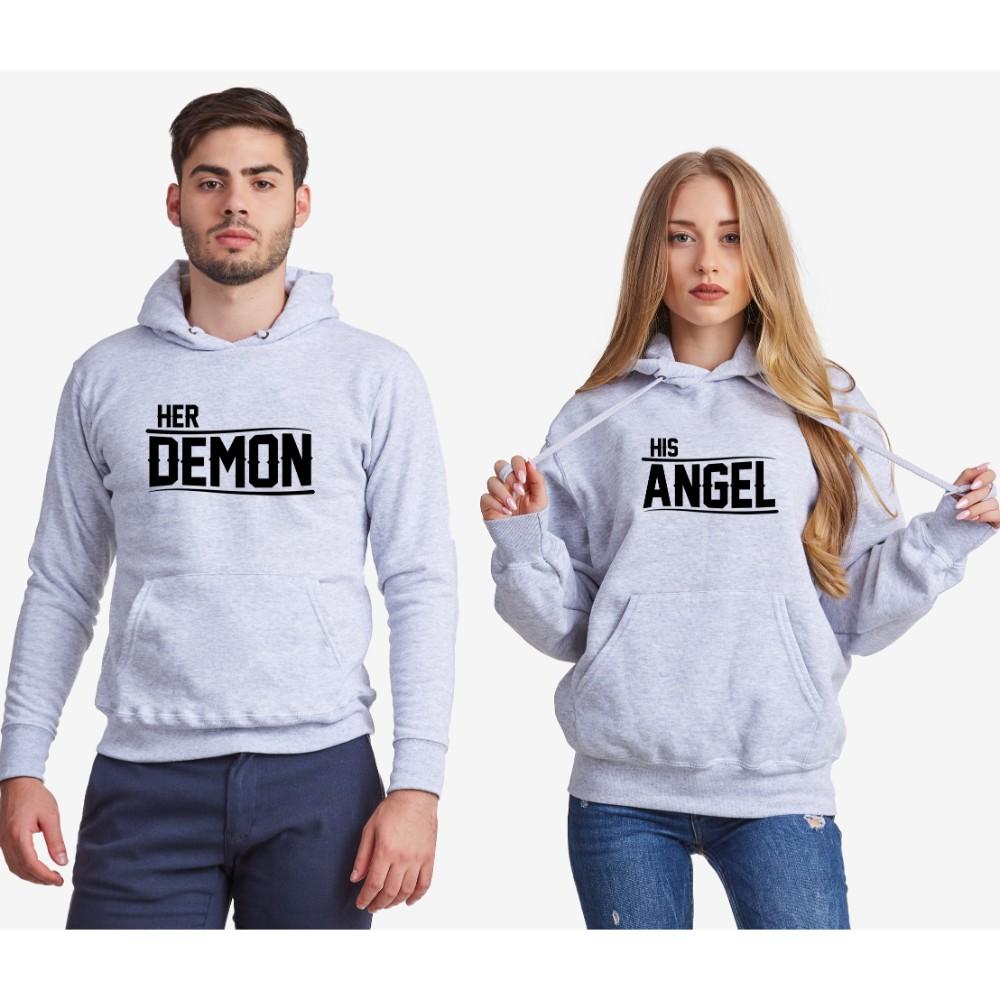 Dukserice za parove - sivi Her Demon and His Angel