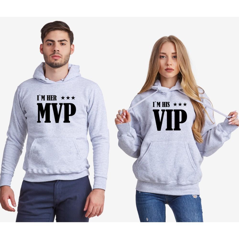 Dukserice za parove - sivi Her MVP and His VIP