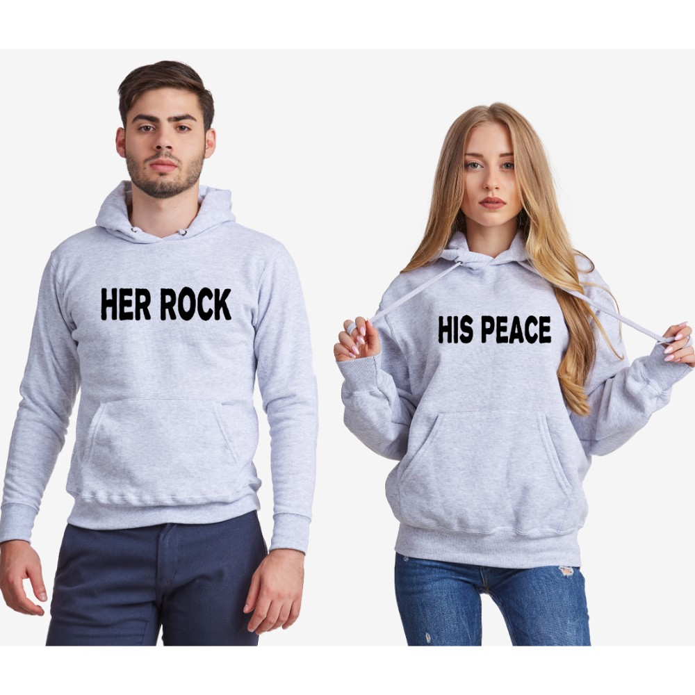 Dukserice za parove - sivi Her Rock and His Peace