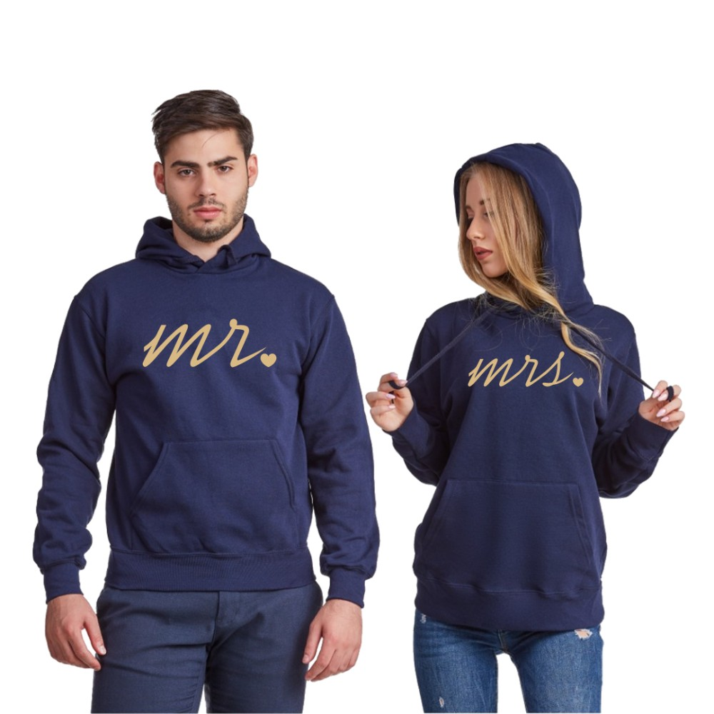 Set tamno plavih dukserica za parove Mr and Mrs Gold