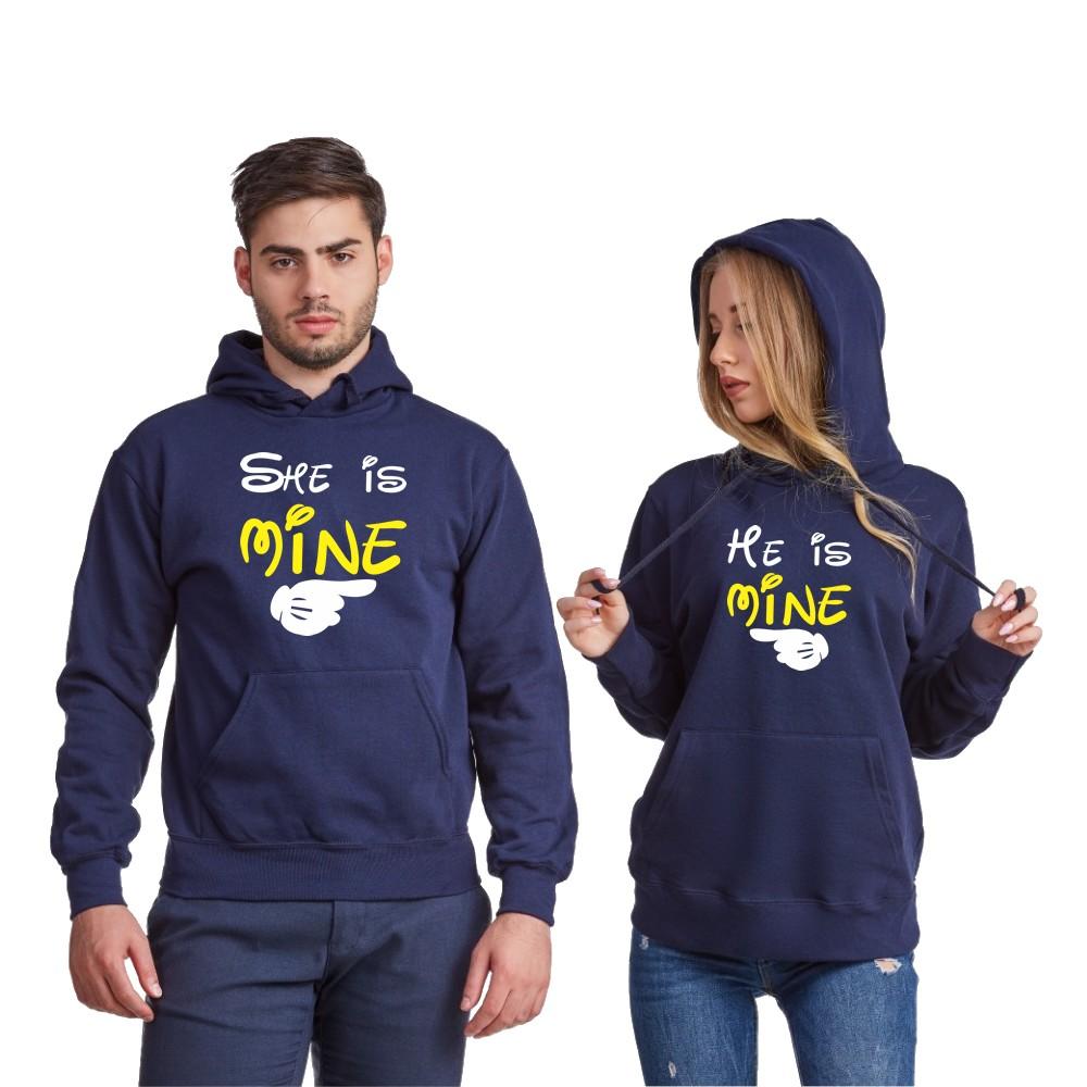 Tamno plave ili sive dukserice za parove He is mine - She is mine