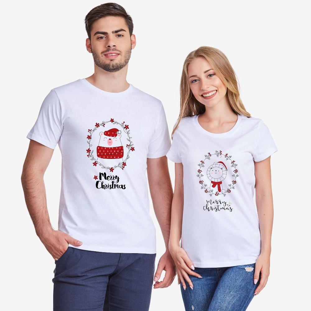 Set bijelih majica za zaljubljene Merry Christmas Couple