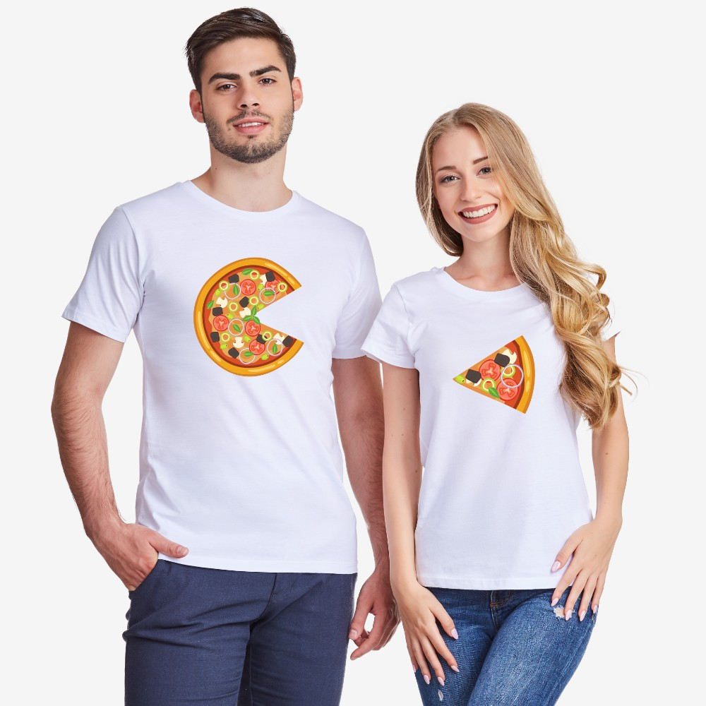 Set bijelih majica za zaljubljene Pizza Slices