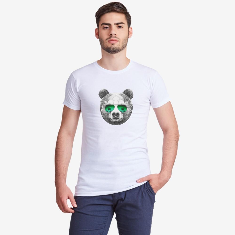 Muška bijela majica s otiskom Bear with Sunglasses