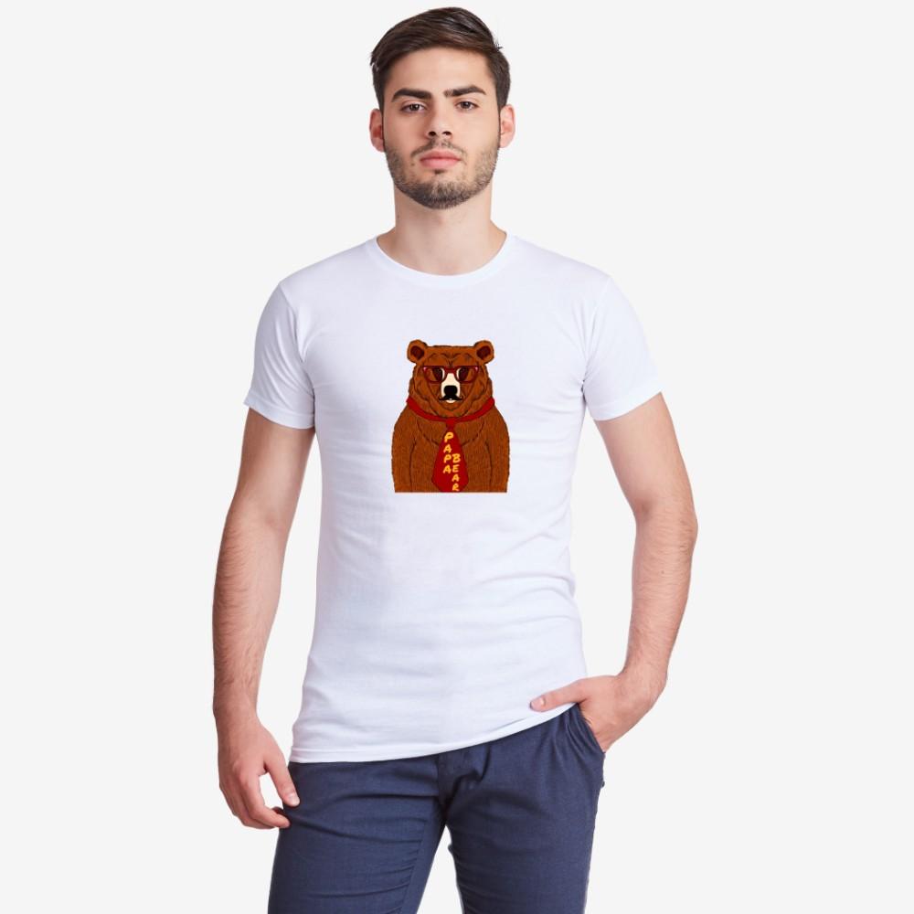 Muška bijela majica s otiskom Papa Bear Animated