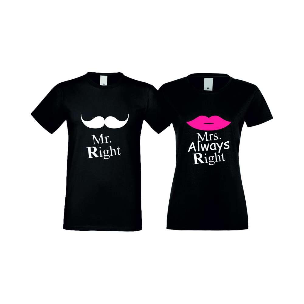 Majice za zaljubljene Mr Right Mrs Always Right