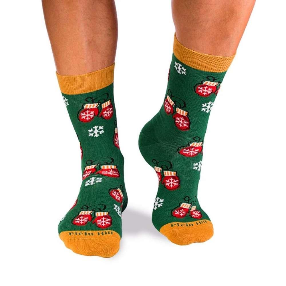 Božićne čarape od češljanog pamuka Snowflakes and Christmas House