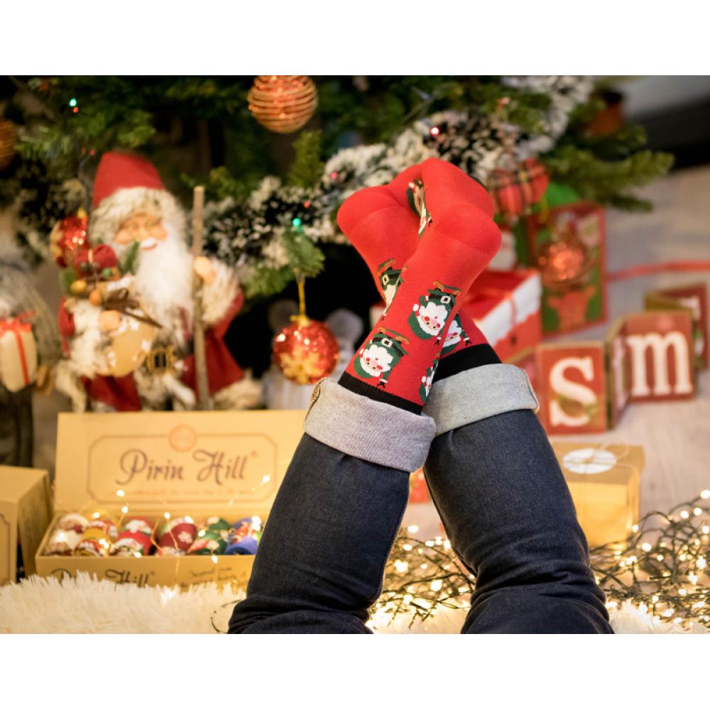 Božićne crvene čarape od češljanog pamuka Christmas Santa